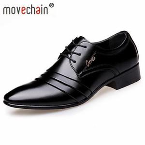 Movechain Yeni Moda Sivri Burun erkek Deri Iş Ayakkabıları Adam Düğün Parti Flats Erkek Dantel-Up Elbise Ofis Oxfords
