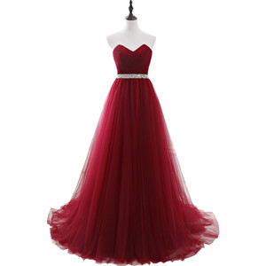 100% Real Images Elegant Dress Women for Party Burgundy Sweetheart Long Dresses Evening Wine A-Line Prom Gown vestidos mae de noi