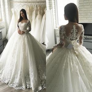 2020 luxe Applique dentelle Manches longues princesse mariage Robes tribunal train élégant Dubaï arabe musulman A-ligne Robes de mariée pas cher BC2546