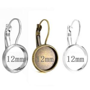 100 stücke Fit 12mm Edelstahl Cameo Glas Cabochon Metall Lünette Französisch Lever Blank Basis Ohrring Zurück Für DIY Schmuckzubehör