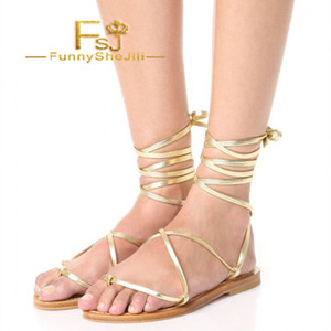 Gold Gladiator Sandals Comfortable Flats Strappy Sandals Anniversary Attractive Generous Incomparable Noble Elegant FSJ Sexy