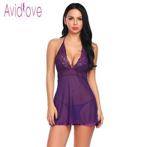 Avidlove 2018 Nueva Ropa Interior de Encaje Transparente Sexy Hot Erotic Chemise Mujeres Mini Babydoll Vestido Ropa Interior Ropa de Dormir Traje Sexual Y18110504