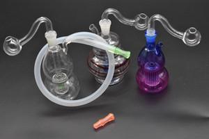 coloré Mini plate-forme pétrolière Bong Thick Heady Glass Bubbler Dab Rigs 10mm femelle petite pipe à eau avec embout en silicone tuyau