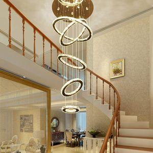 현대 현대 대형 크리스탈 서클 5/6 반지 샹들리에 Luxry 서스펜션 램프 조명기구 거실 계단 펜던트 조명