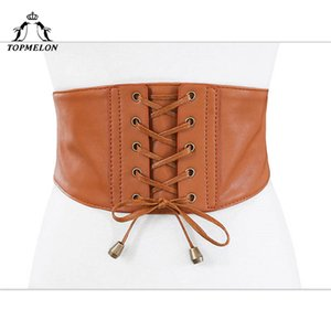 TOPMELON Belly Slimming Belt Steampunk Accessories Waist Trainer Bustier Gothic Corselet Underbust Leather Lace Up Corset Belts