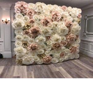 Giant Paper Rose Aritificial Flowers For Wedding & Event Backdrop Decorations Decor 110PCS Mix Ivory Baby Pink Light Gold