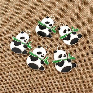 5 pcs Bonito Esmalte Panda Brincos Pingente Encantos DIY Apreciação Jóias Colar Colar Pulseira Kawaii Dangle Brinco Pequeno Acessório