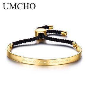 UMCHO Einstellbare Liebe Manschette Armbänder Armreif Echt 925 Sterling Silber Schmuck Gelbgold Farbe Doppelseiten Seil Schmuck Neu