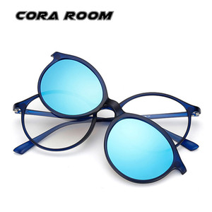 Die neuen TR90 runden Rahmen schlanken Rahmen + Polar Clip männliche und weibliche kurzsichtige Rahmen flache Brille bunten Modespiegel