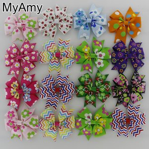 Chicas Pelo Bowsmyamy 60pcs / lot Girls Historieta Pinwheel Pelos Arcos Sin Clips Boutique Hairbow Headwear