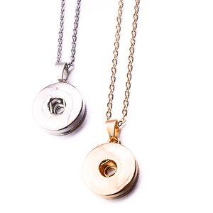 Noosa pezzi semplici argento oro colore pulsante a scatto pendenti collana fit 18 mm bottoni a pressione gioielli fai da te