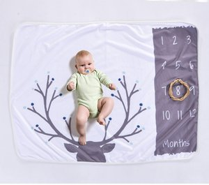 Infant Baby Milestone Couverture Photo Photographie Prop Couvertures Toile de Fond Calendrier en Tissu Bebe Garçon Fille Photo Accessoires