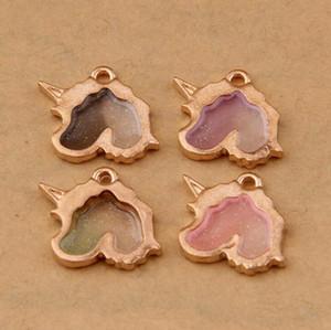 100 Pçs / lote Antique Gold Dupla face Unicórnio / cabeça de cavalo liga charme pingente de Colar de Pingente / Pulseira Gradiente Jóias DIY Acessórios A112