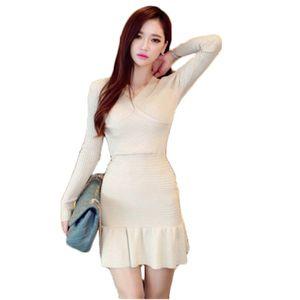 Осень зима большой размер женщины костюмы повседневная женщины трикотажные платья большой размер Fenmale трикотажные Sweter с длинным рукавом Русалка DressD882