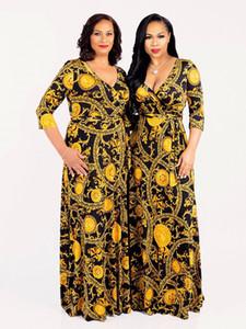 새로운 패션 v 목 여성 빈티지 인쇄 드레스 여름 우아한 긴 맥시 드레스 섹시한 클럽 가운 femm