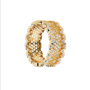 luxury jewelry CZ ring S925 sterling silver rings for women 18K plated gold color honeycomb rings hot fashion free of shipping