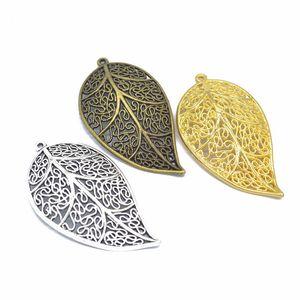 100 pc / lotto fascini filigrana pendente del foglio di grandi dimensioni 57 * 31 millimetri argento antico, bronzo antico, colori oro