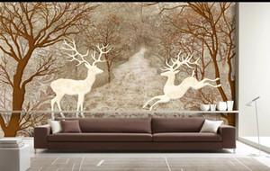 Custom Retail Forest Deer Romantic Vintage Fondo Decoración de pared Pintura White Forest Couple Deer Together Mural