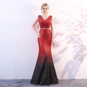 2018new v-cou dos nu robe de soirée pailletée sans manches perles sexy longues robes de soirée sirène robes de bal