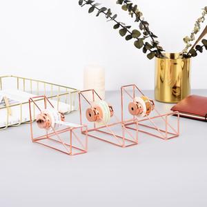 Dispenser per nastro da scrivania con taglierina a nastro, filo metallico, supporto per nastro adesivo tono oro rosa titolare materiale scolastico per ufficio