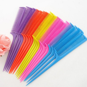 New Colorful Plastic Hair Pointed Tail Comb Hairdresser Hair Cutting Styling Makeup Comb Salon Tools LX3206