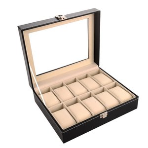 10 Grid Black PU Wooden Wrist Watch Box Display Box Jewelry Storage Holder Organizer Case with Glass Window 10pcs ctn Wholesale