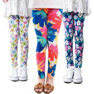 Fashion Girls Floral Print Leggings Primavera Fiocco di neve Latte Pantaloni lunghi di seta Morbidi calzamaglia sottili Pantaloni elastici Neonate Abbigliamento Abbigliamento per bambini