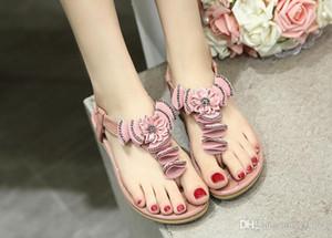 Bohème style femme plage sandales fleurs strass sandales semelle souple bande élastique talon plat livraison gratuite grande taille 35 ~ 41
