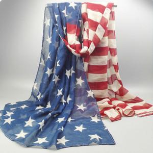Boy Uzu Stil Vintage% 100% Viskon Amerikan Bayrağı Eşarp Moda Kadınlar ABD Bayrağı Şal ve Eşarp aksesuarları