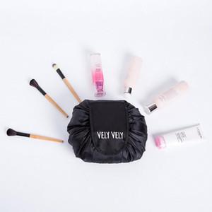 2018 Vely Vely الرباط حقيبة مستحضرات التجميل السفر قدرة كبيرة المحمولة حقائب التجميل كسول البوليستر المكياج الحقيبة A370