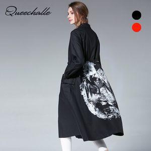 Queechalle Siyah Kırmızı Artı Boyutu kadın Rüzgarlık Sonbahar Trençkot Kadın Geri Moda Baskı İpli Bel Gevşek Uzun Ceket