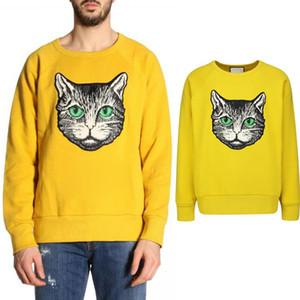 Кошка глава аппликация свитера мужчины Европа популярный дизайн хлопок + шерсть шею вязать носить причинно-следственные свитер мужской