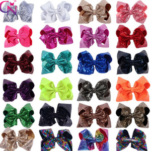 8 pollici paillettes piega la clip capelli delle ragazze del boutique bambini arcobaleno archi accessori per capelli lucenti principessa bambini natale forcine partito F2378