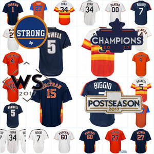 7 Craig Biggio Hommes 34 Nolan Ryan 27 Jose Altuve 4 George Springer 5 Jeff Bagwell Cool Base Jersey