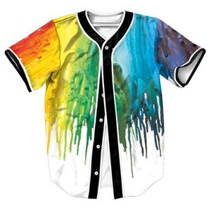 Wholesale Free Shipping Color Painting Floyd Baseball Jerseys 3D Men Casual Slim Fit Tee Shirt Homme Short Sleeve V Neck T-shirt