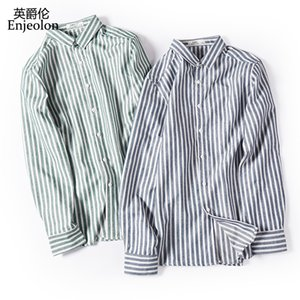Enjeolon  new fall striped shirt Men casual shirts man Blouse cotton Long Sleeve shirts Men 3XL Clothes CXCY2372