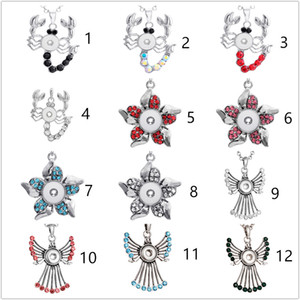 3 Styles Noosa Assorties Ginger 12mm Snap Boutons Chunk Charms Cristal Coeur Multi Pendentif Colliers En Acier Inoxydable 316L Bijoux