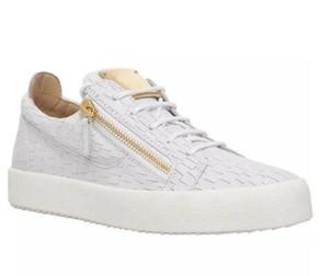 Avrupa Amerika Erkekler Tasarımcı Ayakkabı Fermuar Düz Timsah çizgi deri Bayan Bayan Rahat Ayakkabılar Düşük Üst Sneakers Moda markaları Ücretsiz nakliye