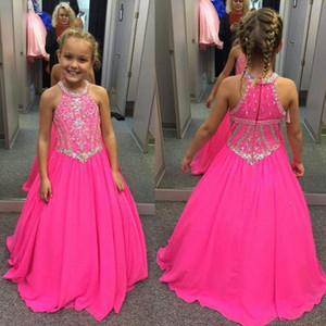 2019 Fuşya Küçük Kızlar Alayı Elbiseler Boncuklu Kristaller Bir Çizgi Halter Boyun Çocuklar için Toddler Çiçek Balo Parti Törenlerinde Düğün BA7601