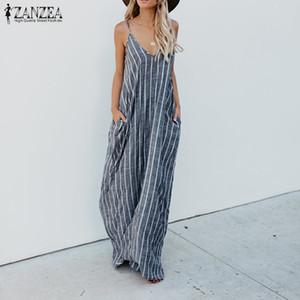 2018 ZANZEA Summer Striped Dress Women Sexy scollo a V Strappy in cotone sciolto Lino Maxi abito lungo casual Baggy Party Beach Vestido