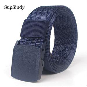 SupSindy ceinture en nylon de toile pour femmes Mode Ceinture à boucle automatique POM pour les femmes Ceinture tactique extérieure militaire sangle mâle bleu