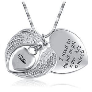 Collar de joyería de moda de acero inoxidable puede abrir alas de ángel en forma de corazón hermana cremación joyería botella gris collar colgante.