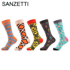 Wholesale- SANZETTI 5 pairs/lot Mens Long Socks Winter Funny Pattern Novelty Casual Socks Combed Cotton Men Socks US Size 7.5-12