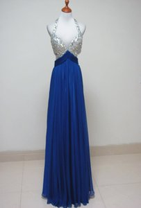 Beaded Long Chiffon Evening Dresses with Lace sequins New Sexy Prom Dresses Backless Long Party Dresses