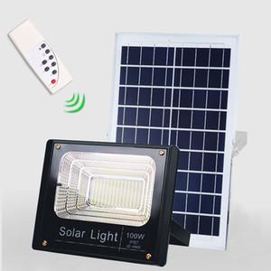 Güneş LED Işık Spotlight Uzaktan kumanda ile 40W / 60W / 100W / 200W Süper Parlak Güneş Enerjili Paneli Projektör Su geçirmez IP67 Sokak Lambası