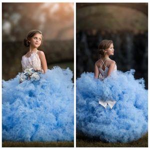 2021 Новый дизайн Puffy Тюль бальное платье девушки Pageant платья Перо Украшенный бисером лук Мягкие Многоуровневые цветок девочки платья для детей партии Gowns