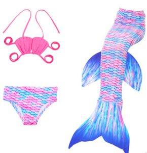 Novas crianças Swimsuit Moda crianças maiô Gilrs shell biquíni Colorido Bikinis Kid natação Sereia Caudas meninas praia maiôs A00292