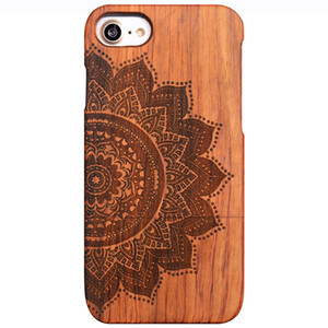 For iPhone x&iphone7plus 8plus &iPhone7 8 case, wooden case Unique Genuine Natural Rose Wood Case Hard Bamboo Shockproof Case(Half flower)