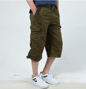 2018 Men's Cargo Shorts Combat Plus Big Size Capris 4XL 5XL Man Long Army Green Baggy Short Male Army Green Dark
