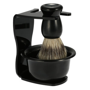 3 Em 1 Sabonete de Barbear + Pincel de Barba + Suporte de Barbear Cabelo Cerdas Barba Escova Homens Ferramenta de Limpeza de barba apoio Atacado